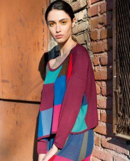 Maglia poncho patchwork