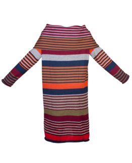 Abito a tunica di lana a righe-fw1704-vista frontale