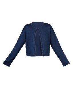 Giacchino di lana corto blu - fw1702 - vista frontale