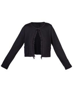 Giacchino di lana corto nero - fw1702a - vista frontale