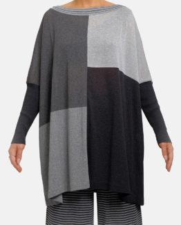 Maglia effetto poncho grigio